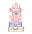 hand drawn suitcases in sketch style vector image