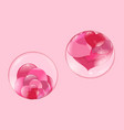 hearts lie inside a transparent glass bowl and a vector image vector image