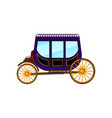 horse-drawn carriage with large purple cab and big vector image vector image