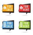 house for rent and sale set vector image vector image