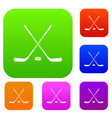 ice hockey sticks set color collection vector image