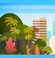 palm tree park over city buildings skyscrapers vector image