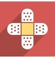Plaster Cross Flat Longshadow Square Icon vector image
