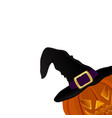 pumpkin for halloween in a witches hat vector image vector image