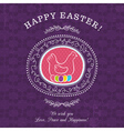 Purple greetings card for Easter Day vector image vector image