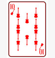 red horned guitar ten playing card vector image vector image