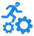 Running Developer Over Gears Grainy Texture Icon vector image vector image
