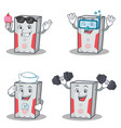 set of computer character with ice cream fitness vector image vector image