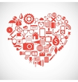 Silhouette of a heart consists of icons vector image vector image