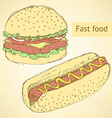Sketch hot dog and hamburger in vintage style vector image