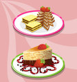 Two cake and saucer on a pink background vector image