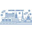 usa connecticut hartford winter city skyline vector image vector image