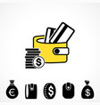 wallet or pocketbook icon vector image