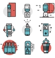 Water cooler flat line colored icons vector image