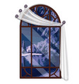 window overlooking the forest river in winter vector image vector image