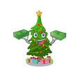 with money bag christmas tree next to cartoon