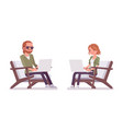 young red-haired man and woman sitting working vector image vector image