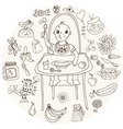 Baby feeding doodle vector image