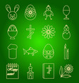 a set of icons of easter symbols vector image