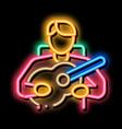 bard playing on guitar neon glow icon