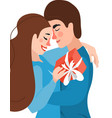 beautiful young couple in love hugging kissing vector image