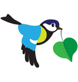Bird with a leaf vector image vector image