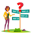 business woman chooses a path of ways direction vector image