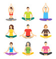 cartoon meditation people signs icon set vector image vector image