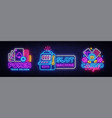 casino neon sign collection design template vector image vector image