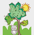 cat in the forest doodle cartoons vector image vector image
