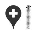 clinic map pointer icon with work bonus vector image