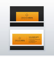 company business card design in yellow and black vector image vector image