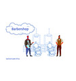 couple stylish barbers standing near retro style vector image vector image