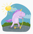 cute funny unicorn riding kick scooter in sumer vector image