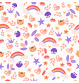 cute girl pattern with rainbow heart cat stars vector image