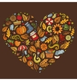 Doodle cartoon set of Autumn objects symbols and vector image