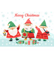 gnomes christmas characters funny dwarfs smiling vector image vector image