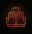 hands and heart line colored icon on dark vector image vector image