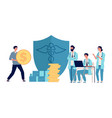 healthcare investment man holding money doctors vector image vector image