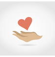 Heart in a hand3 vector image vector image