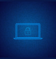 laptop on a digital background vector image vector image