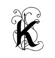 letter k with arrows vector image vector image