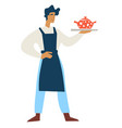 man in apron with teapot on tray isolated male vector image