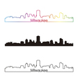 Milwaukee skyline linear style with rainbow vector image vector image