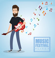 Music festival live with man playing electric
