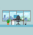 office room with big window and landscape vector image vector image