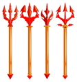 red trident set isolated on white background vector image vector image