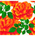 seamless texture flower orange rose stem vintage vector image vector image