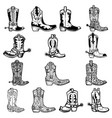 set cowboy boots in vintage monochrome vector image vector image