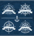set of vintage nautical design elements vector image vector image